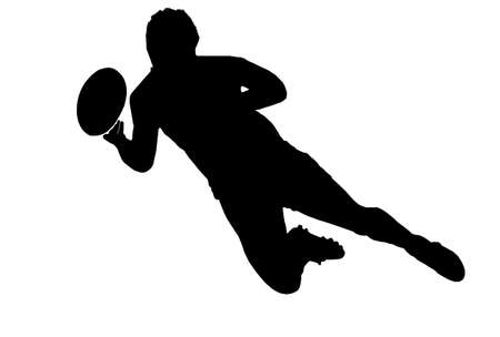 rugby player: Sport Silhouette - Rugby Football Scrumhalf Passing Ball with Dive Pass