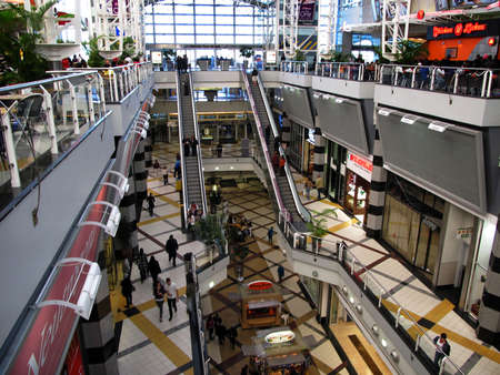 Editorial image of the interior of a section of Menlyn Shopping Mall  Center in Pretoria South Africa Editorial