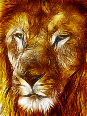 fearsome: Close-up picture illustration of Large Lion face Stock Photo