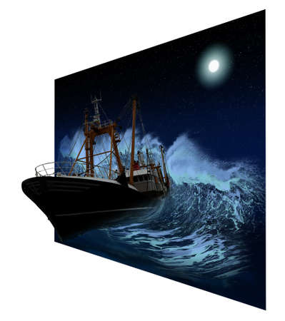 disastrous: Sinking ship being hit by massive wave at night in 3D