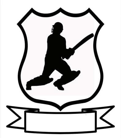 Cricket Sport Emblem Badge Shield Logo Insignia Coat of Arms