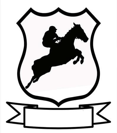 cavallo che salta: Corse di cavalli o salto Sport emblema distintivo scudo Logo Insignia Stemma Vettoriali