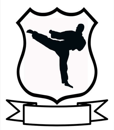 Karate Sport Emblem Badge Shield Logo Insignia Coat of Arms Vector
