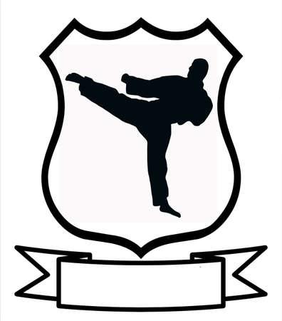 name badge: Karate Sport Emblem Badge Shield Logo Insignia Coat of Arms Illustration