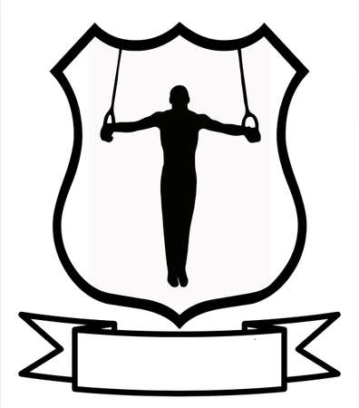 Male Gymnastics Sport Emblem Badge Shield Logo Insignia Coat of Arms Stock Vector - 10233392