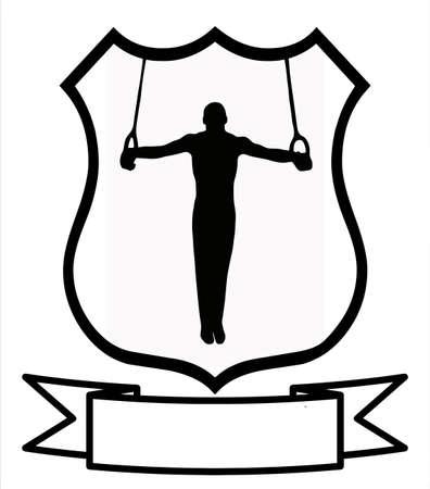 gimnastas: Masculino Gimnasia deporte insignia emblema escudo logotipo Insignia escudo Vectores