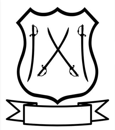 fencing: Sword Fencing Sport Emblem Badge Shield Logo Insignia Coat of Arms