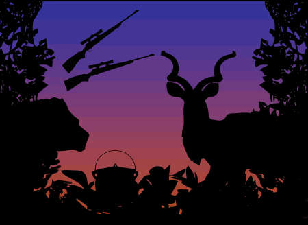 Hunting Africa Animals and Nature Illustration with Lion Kudu and Africa Cooking Pot in Bush Stock Vector - 10255874