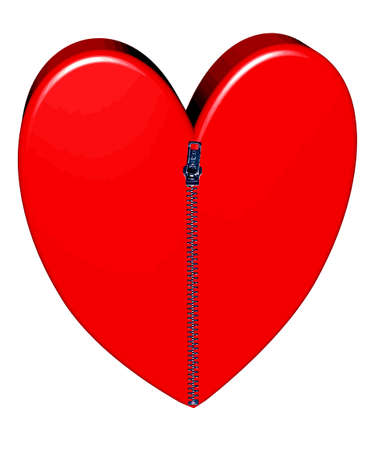 vulnerable: Red heart closed with pulled up zipper in 3D
