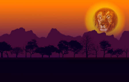 Colorful African Nature Sunset with Lion Head Sun Silhouetted Trees and Mountain photo