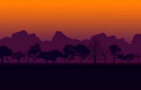 purple sunset: Colorful African Nature Sunset with Silhouetted Trees and Mountain Vector