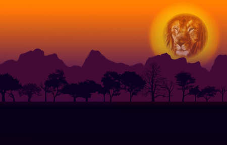 Colorful African Nature Sunset with Lion Head Sun Silhouetted Trees and Mountain Vector Stock Vector - 10321144