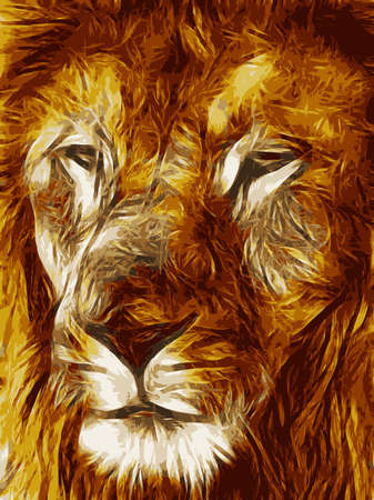 fearsome: Close-up picture illustration of Large Lion face Vector