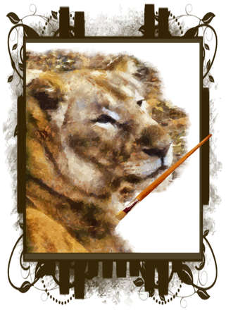 Illustration of artist paintbrush painting lion on framed canvas vector Stock Vector - 10321149