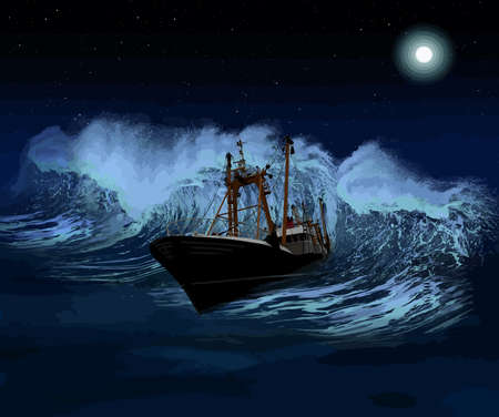 disastrous: Sinking ship being hit by massive wave at night Vector Illustration