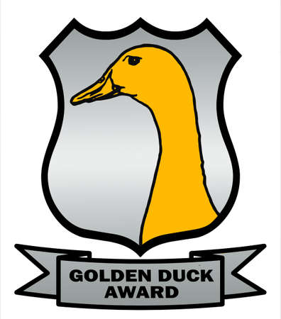 gag: Cricket Golden Duck Award Shield with silver background