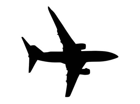 boing: Twin Jet Airplane Isolated Silhouette on White Illustration