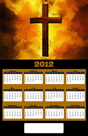 2012 Flaming Christian Cross Painting on Black Background Calendar photo