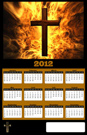 2012 Flaming Christian Cross on Black Background Calendar photo
