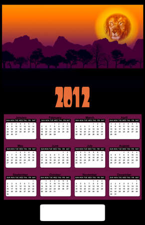 2012 African Lion Head and Tree Silhouette Sunset Calendar Stock Photo - 10556117