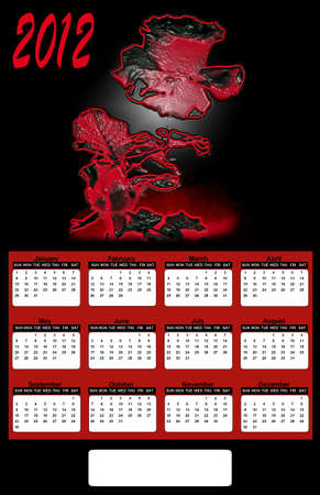 2012 Neon Red Rose on Black Background Calendar Stock Photo - 10556119