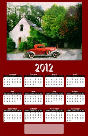 2012 Vintage Car on Dark Red Brown Background Calendar Stock Photo - 10556122