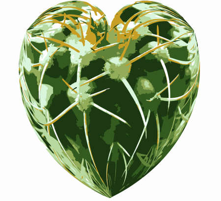 love hurts: Love Hurts Isolated Heart Shape with Thorny Plant Texture VB