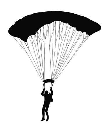 sky dive: Silhouette of sky diver with open parachute Illustration