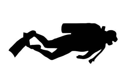 diver: Silhouette of scuba diver swimming with gear Illustration
