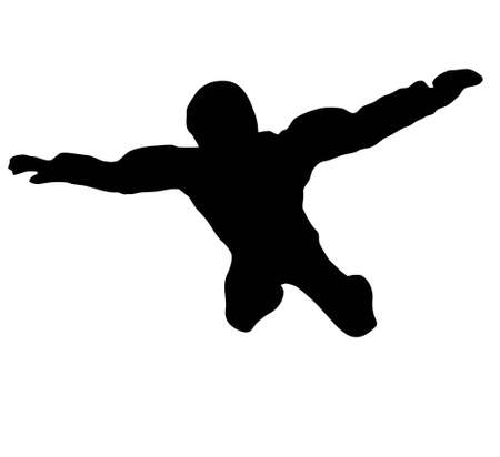 skydiver: Silhouette of sky diver free falling from sky