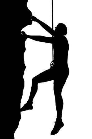 adrenaline: Geïsoleerde Beeld van een Man Abseiler beklimmen van een rotswand Stock Illustratie