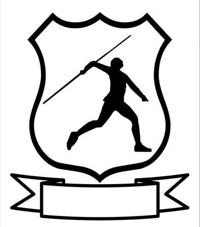 lanzamiento de jabalina: Imagen aislado de un lanzador de jabalina masculino o femenino en un escudo