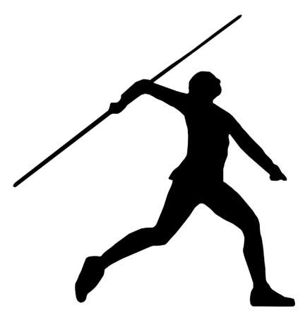 throwing: Isolated Image of a Male or Female Javelin Thrower Illustration