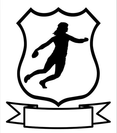 Isolated Image of a Female Discus Thrower on a Shield Vector
