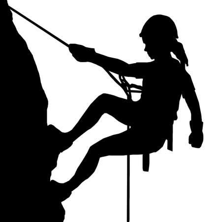 hanging woman: Immagine isolata di un Abseiler femminile Climbing una parete di roccia