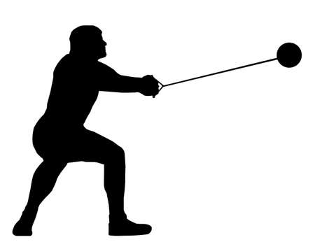 throwing ball: Isolated Image of a Male Hammer Thrower Illustration