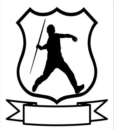thrower: Isolated Image of a Male Javelin Thrower on a Shield