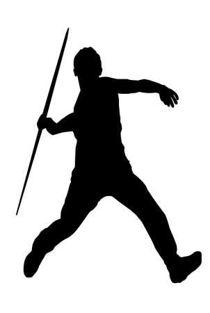 atletismo: Imagen aislado de un lanzador de jabalina masculino