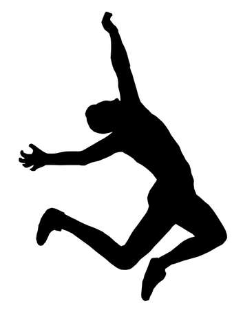 Isolated Image of a Male Long Jumper Vector