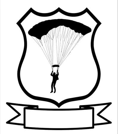 parachuter: Isolated Image of a Parachuter or Sky Diver on a Shield   Illustration