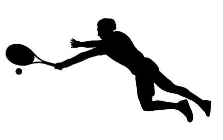 diving save: Isolated Image of Male Tennis Player Diving to get to Ball Illustration