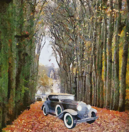 Front view of a vintage Dodge 1928 passenger vehicle Oil painted Ilustração