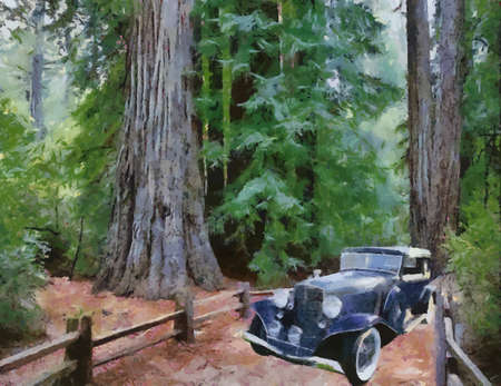 auburn: Auburn Salon Brougham 1933 in the forest. Oil Painting (Camille Style). Illustration