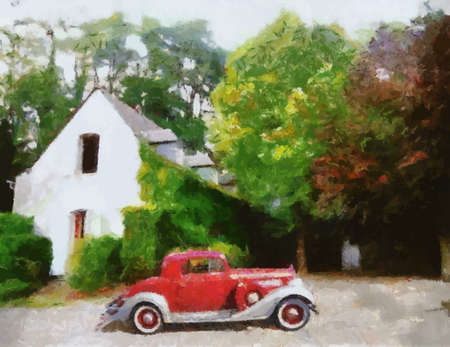 parked: Sports Coupe parked in front of farm house Oil painted Illustration