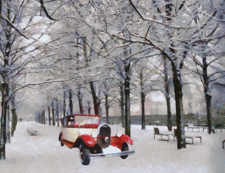 bonnet illustration: Front view of a vintage Chenard Walcker 1928 passenger vehicle on snowy road Oil painted