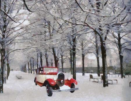 passenger vehicle: Vista frontal de un veh�culo de �poca Chenard pasajeros Walcker 1928 sobre el aceite de camino cubierto de nieve pintado Vectores