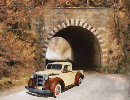 old truck: Diamond-T Model 210 1948 Oil Painting Illustration