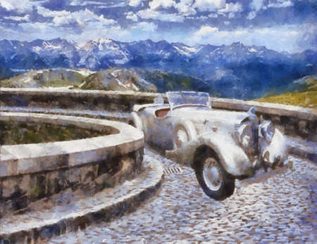 Front view of a vintage Jensen 1939 Continental H-Series vehicle in Alps Oil painted. Vector