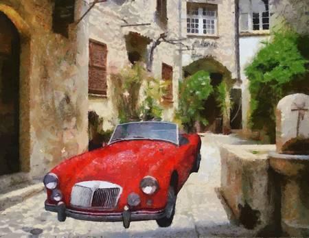 bonnet illustration: MG (MGA) Sports 1975 in narrow stone passage Oil Painting Illustration