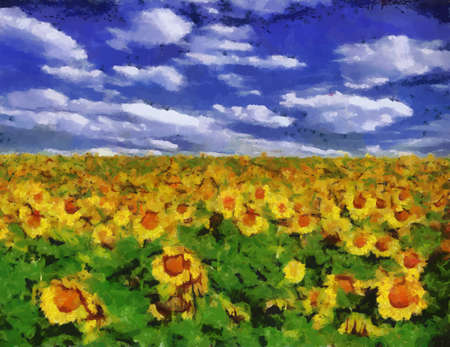 Sunflower field under blue sky background oil painting Vector